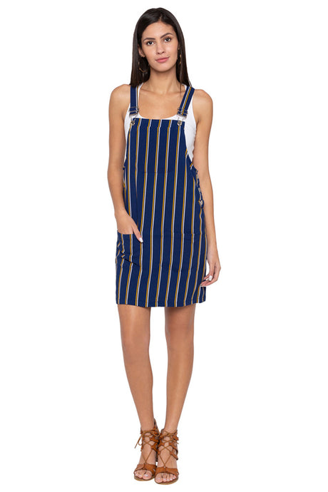 Striped Dungaree Dress-1