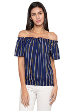 Load image into Gallery viewer, Striped Off Shoulder Blouson Top-1