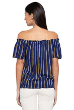 Load image into Gallery viewer, Striped Off Shoulder Blouson Top-3