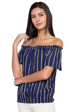 Load image into Gallery viewer, Striped Off Shoulder Blouson Top-4