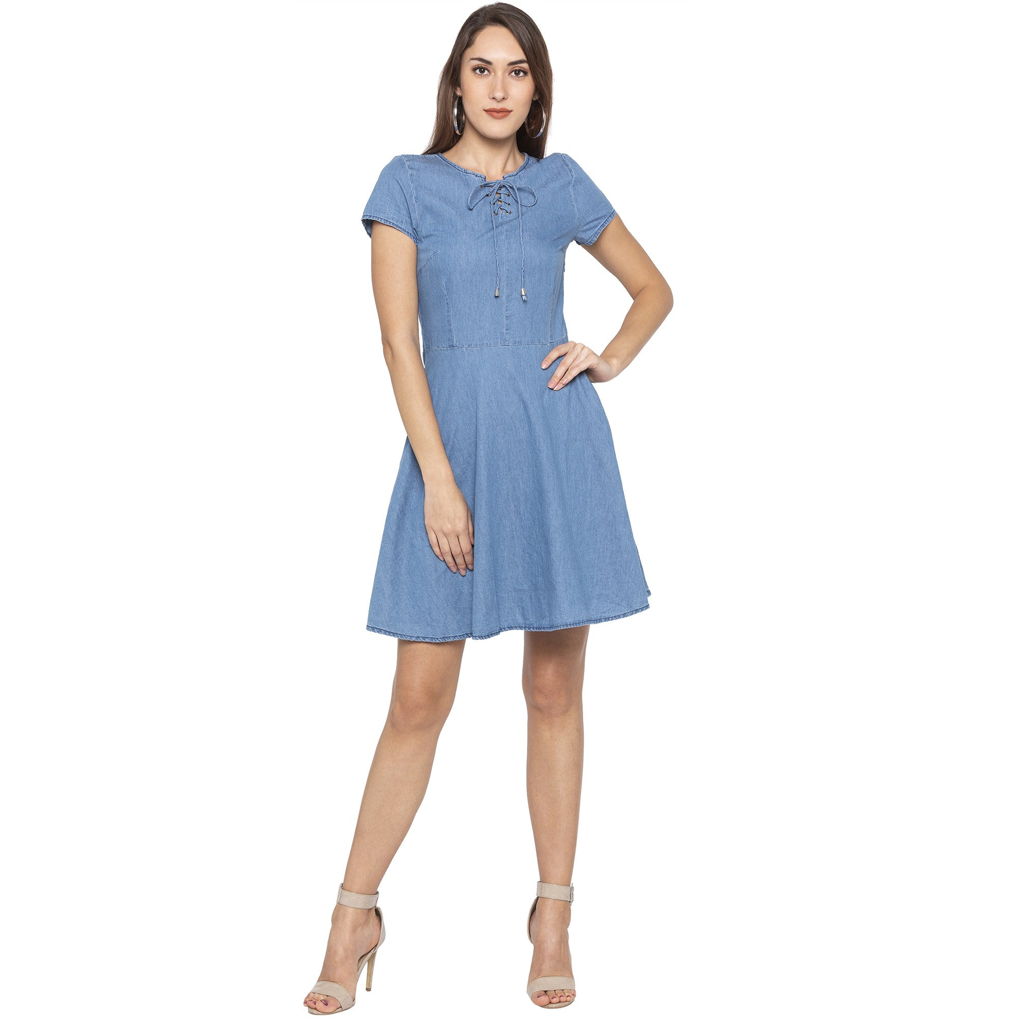 Casual Blue Color Solid Fit and Flare Dress-1