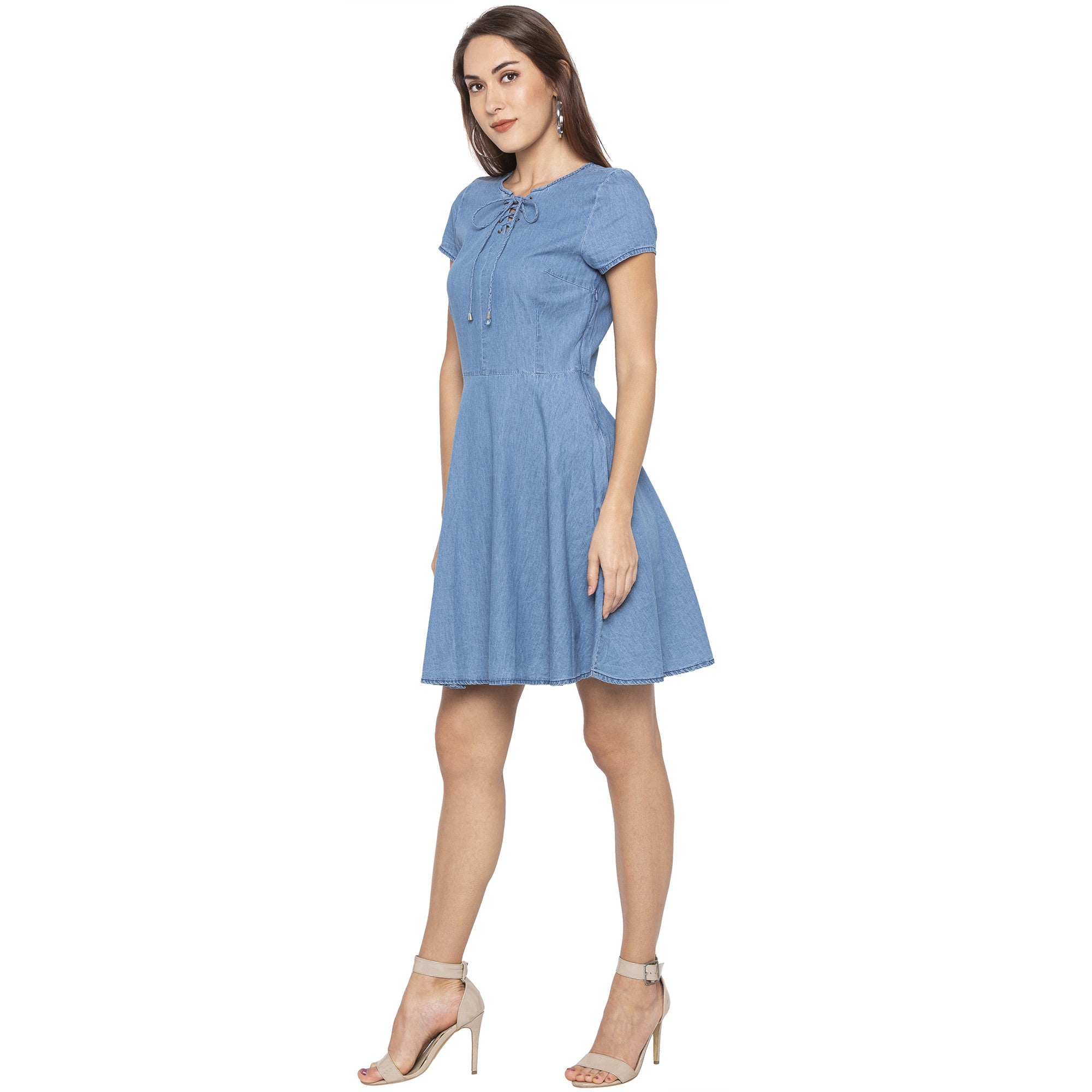 Casual Blue Color Solid Fit and Flare Dress-2