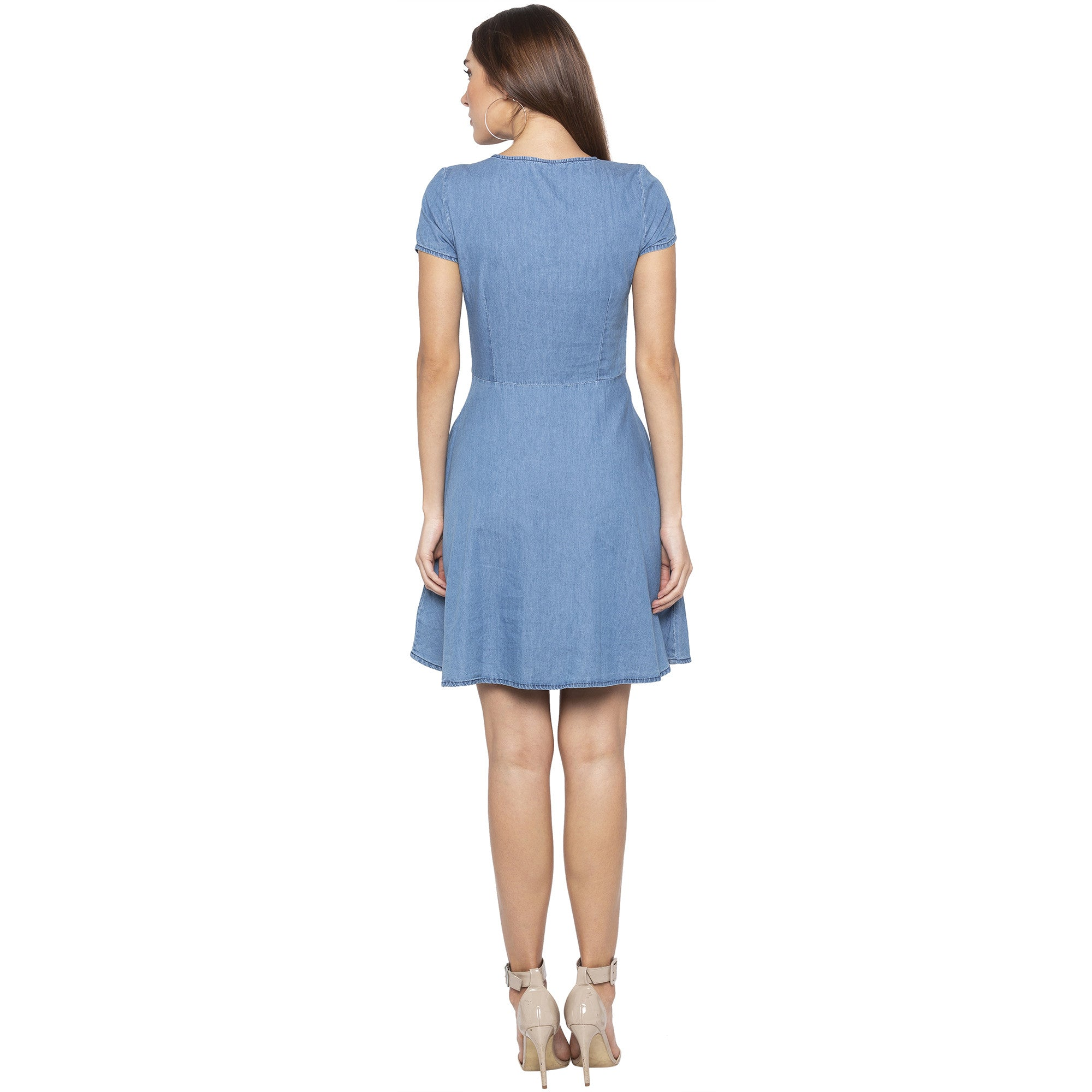 Casual Blue Color Solid Fit and Flare Dress-3
