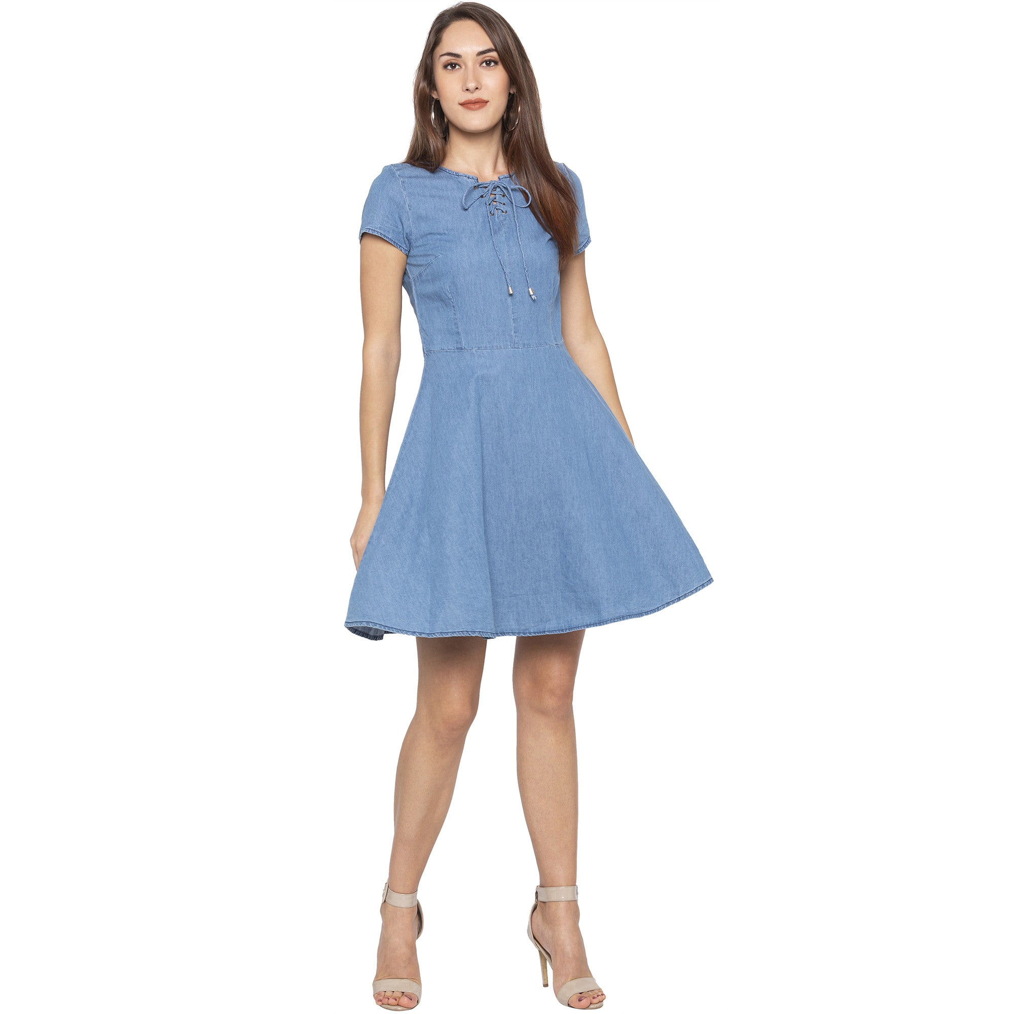 Casual Blue Color Solid Fit and Flare Dress-4