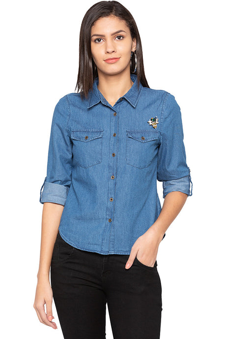 Curved Hem Denim Shirt-1