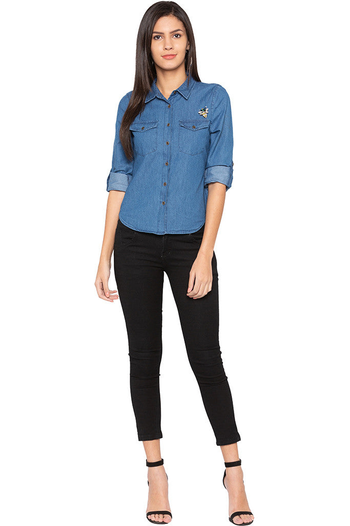 Curved Hem Denim Shirt-2