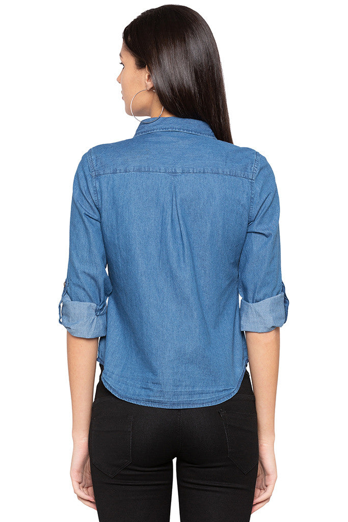 Curved Hem Denim Shirt-3