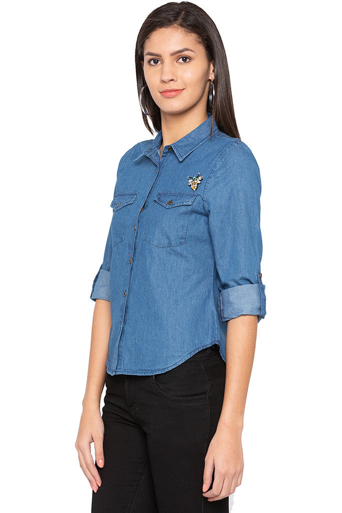 Curved Hem Denim Shirt-4