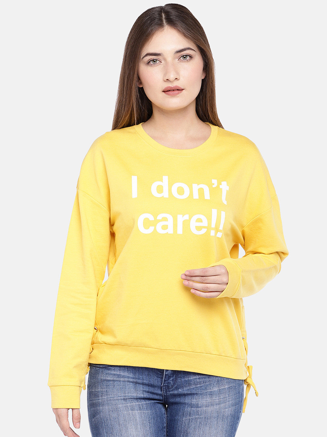 Yellow Printed Sweatshirt-1