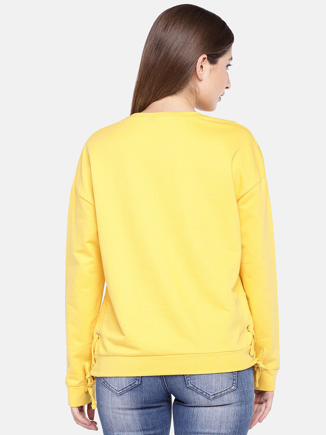 Yellow Printed Sweatshirt-3