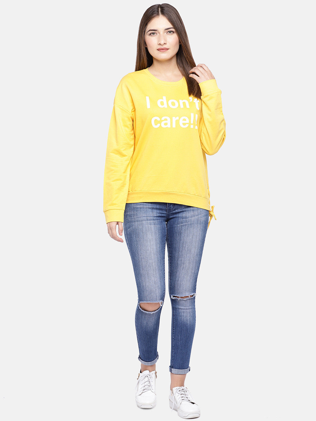 Yellow Printed Sweatshirt-4