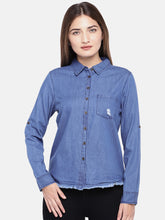 Load image into Gallery viewer, Navy Blue Regular Fit Solid Casual Shirt-1
