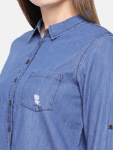 Load image into Gallery viewer, Navy Blue Regular Fit Solid Casual Shirt-5
