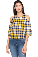 Load image into Gallery viewer, Tartan Check Cold Shoulder Yellow Top-1