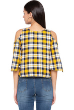 Load image into Gallery viewer, Tartan Check Cold Shoulder Yellow Top-3