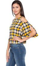 Load image into Gallery viewer, Tartan Check Cold Shoulder Yellow Top-4