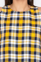 Load image into Gallery viewer, Tartan Check Cold Shoulder Yellow Top-5