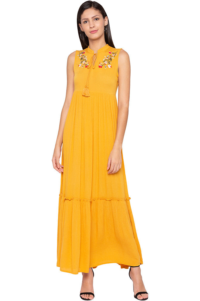 Embroidered Tiered Mustard Dress-1