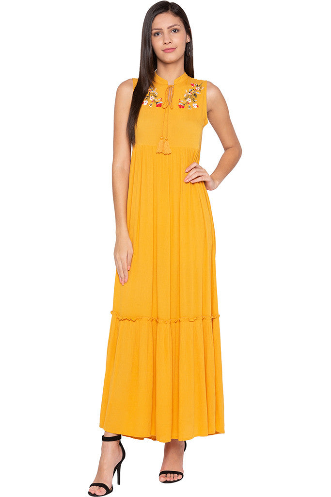 Embroidered Tiered Mustard Dress-2