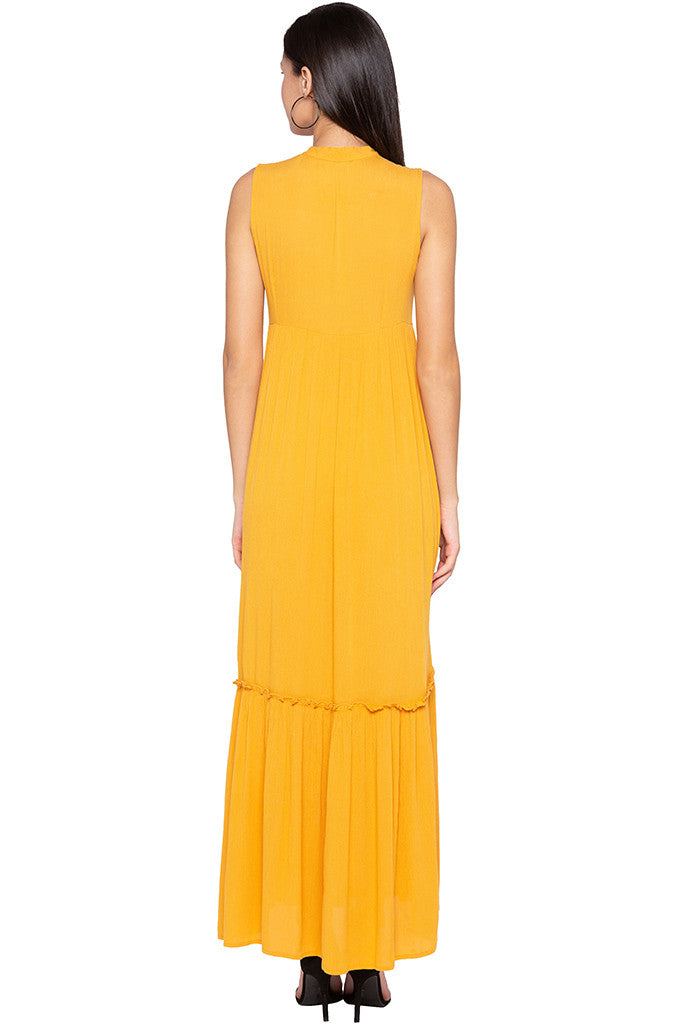 Embroidered Tiered Mustard Dress-3