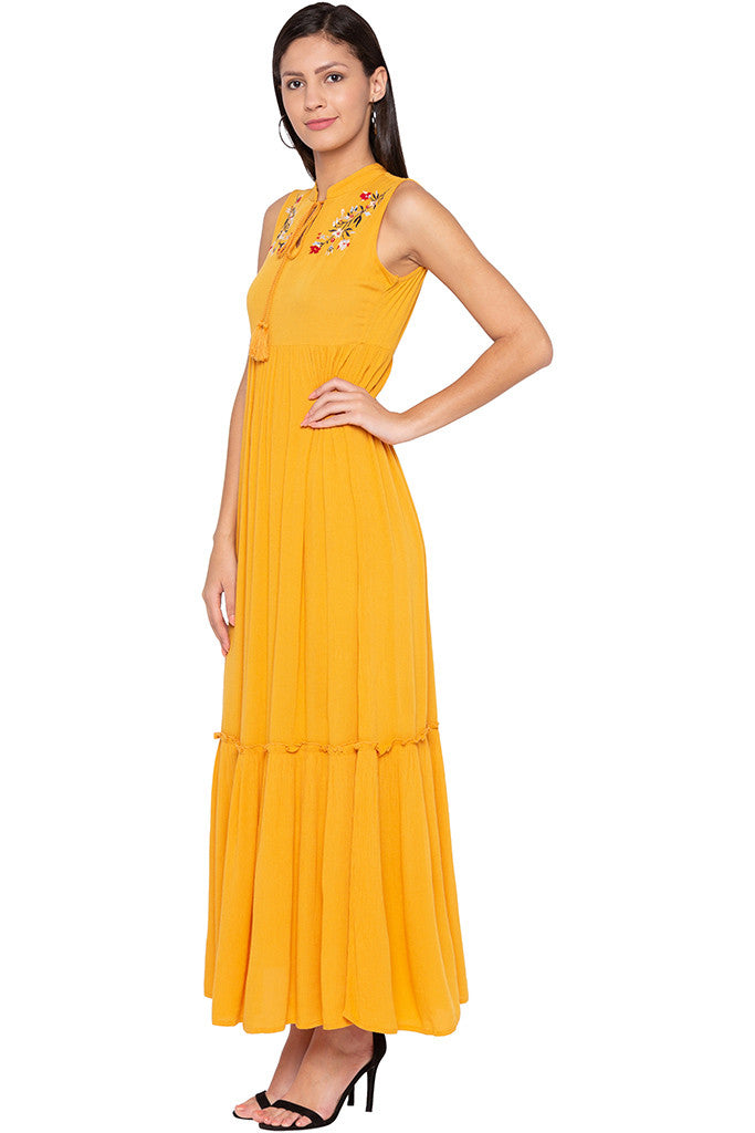 Embroidered Tiered Mustard Dress-4