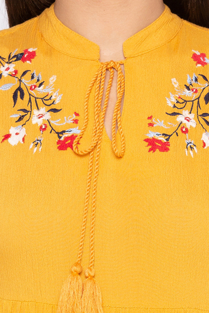 Embroidered Tiered Mustard Dress-5
