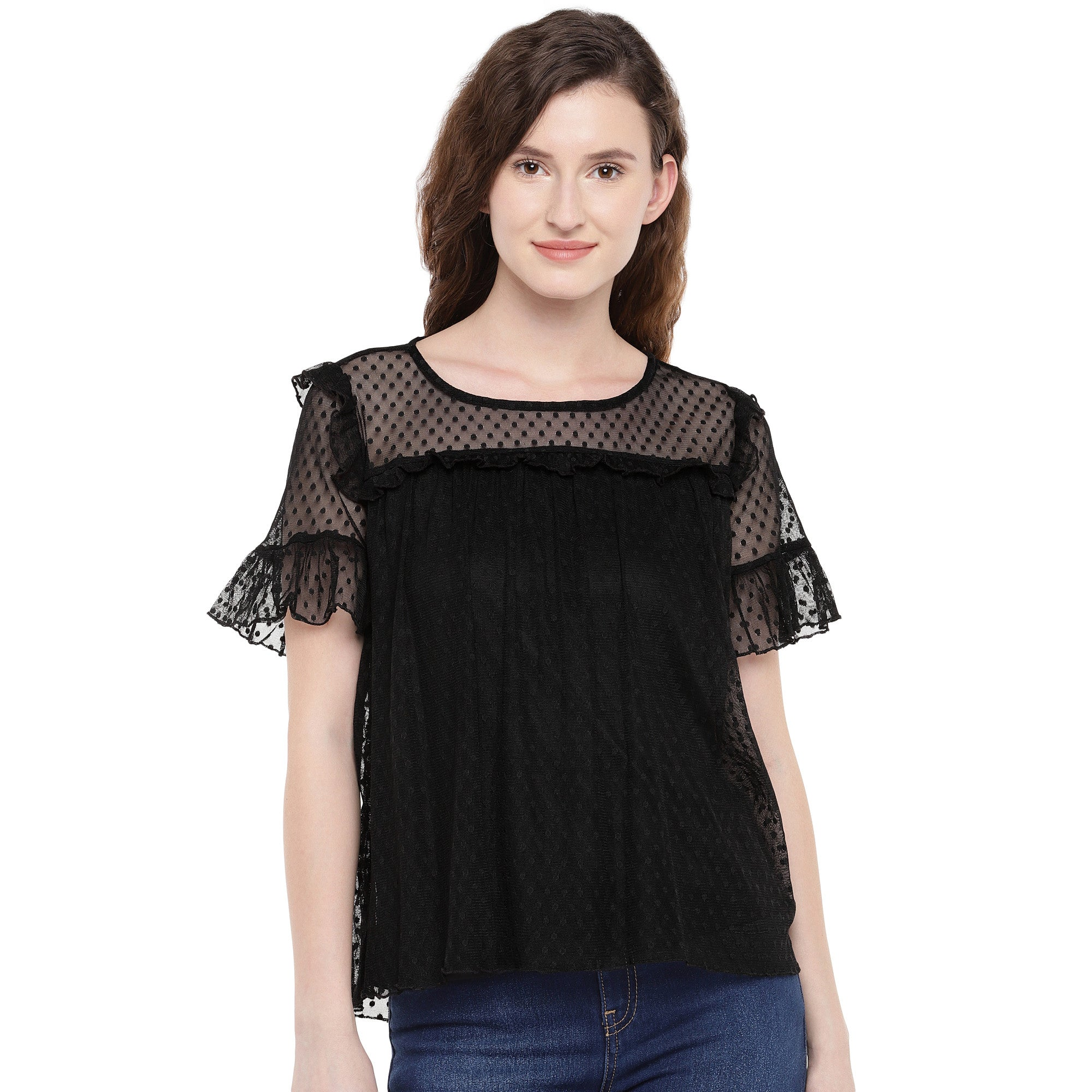 Women Black Self Design Top-1