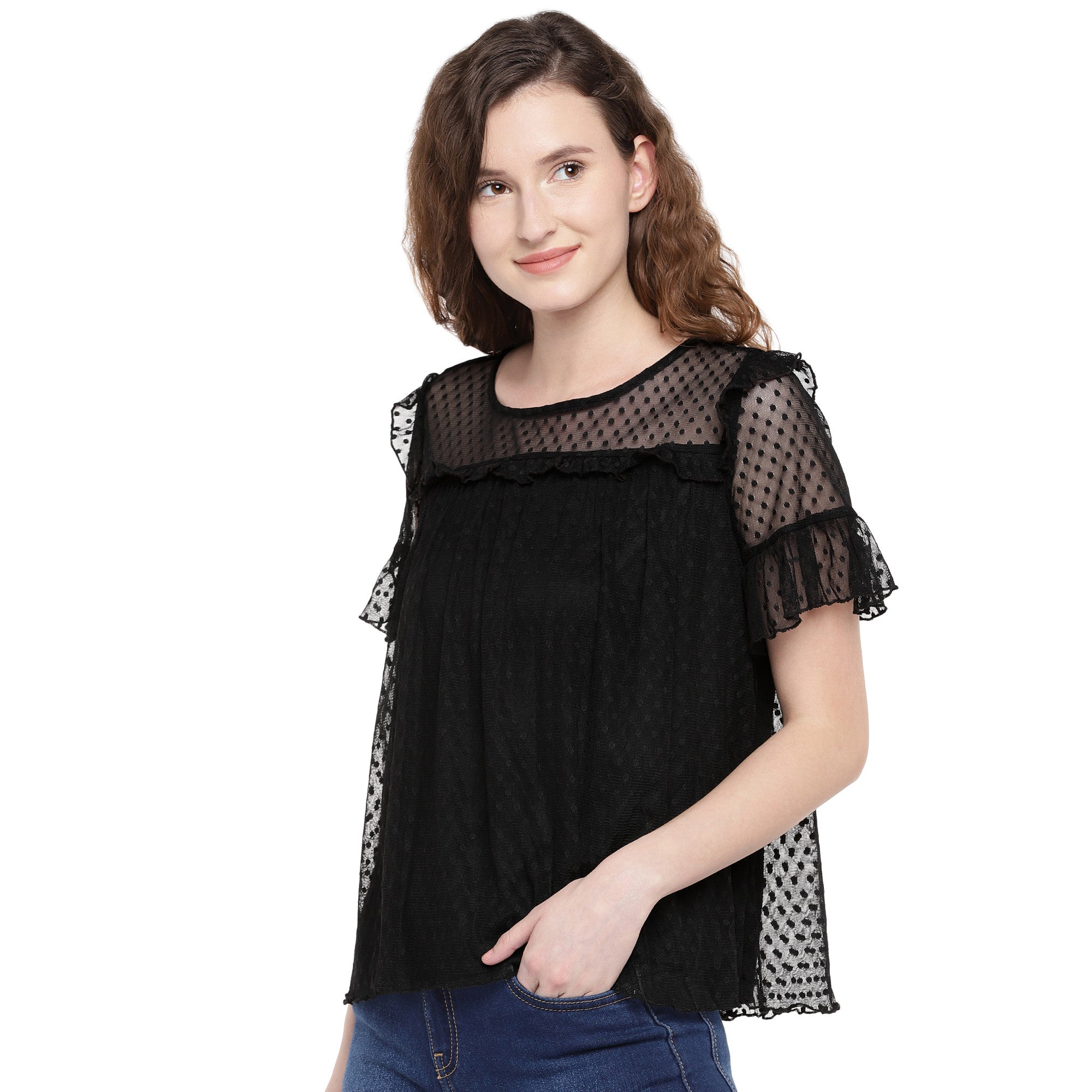 Women Black Self Design Top-2
