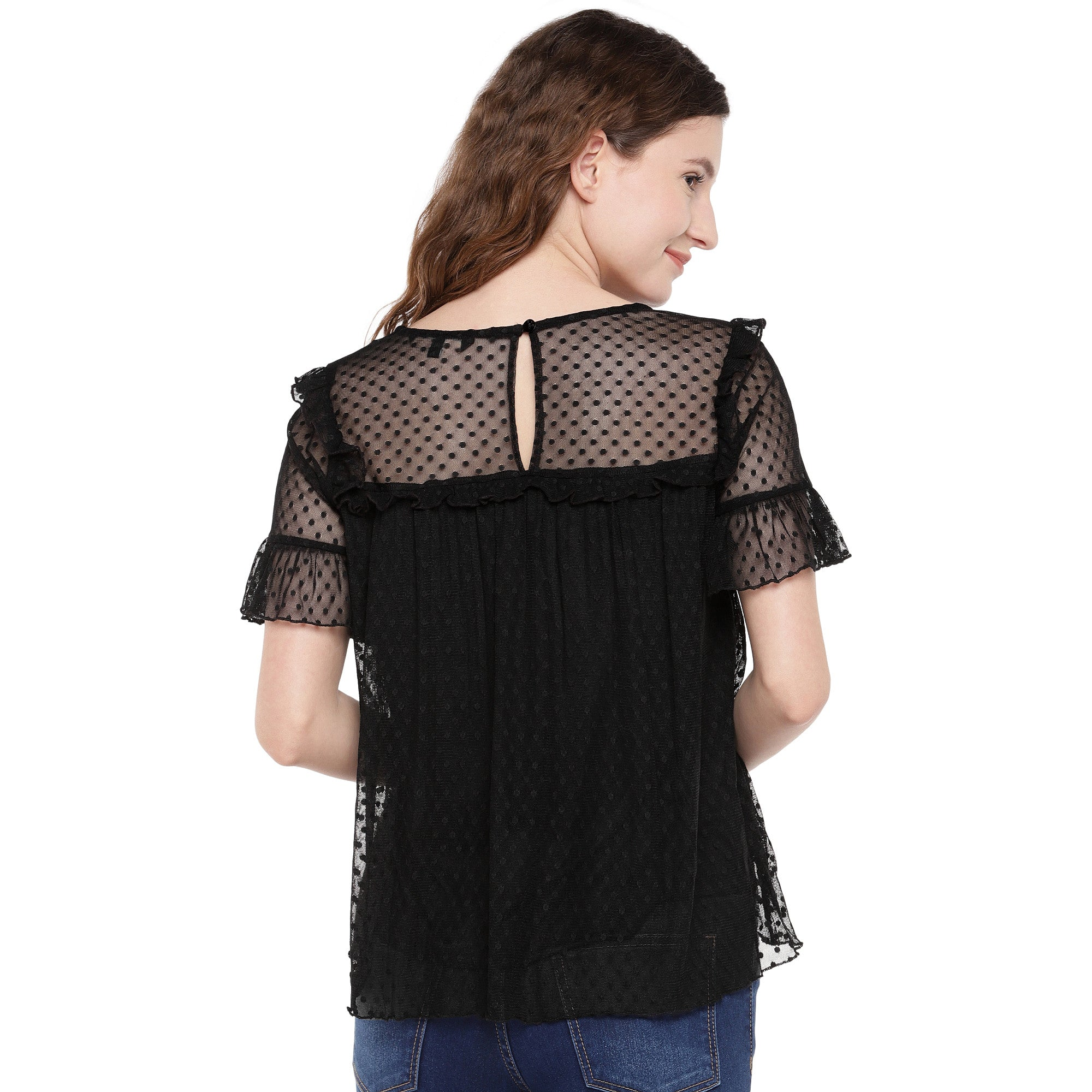 Women Black Self Design Top-3
