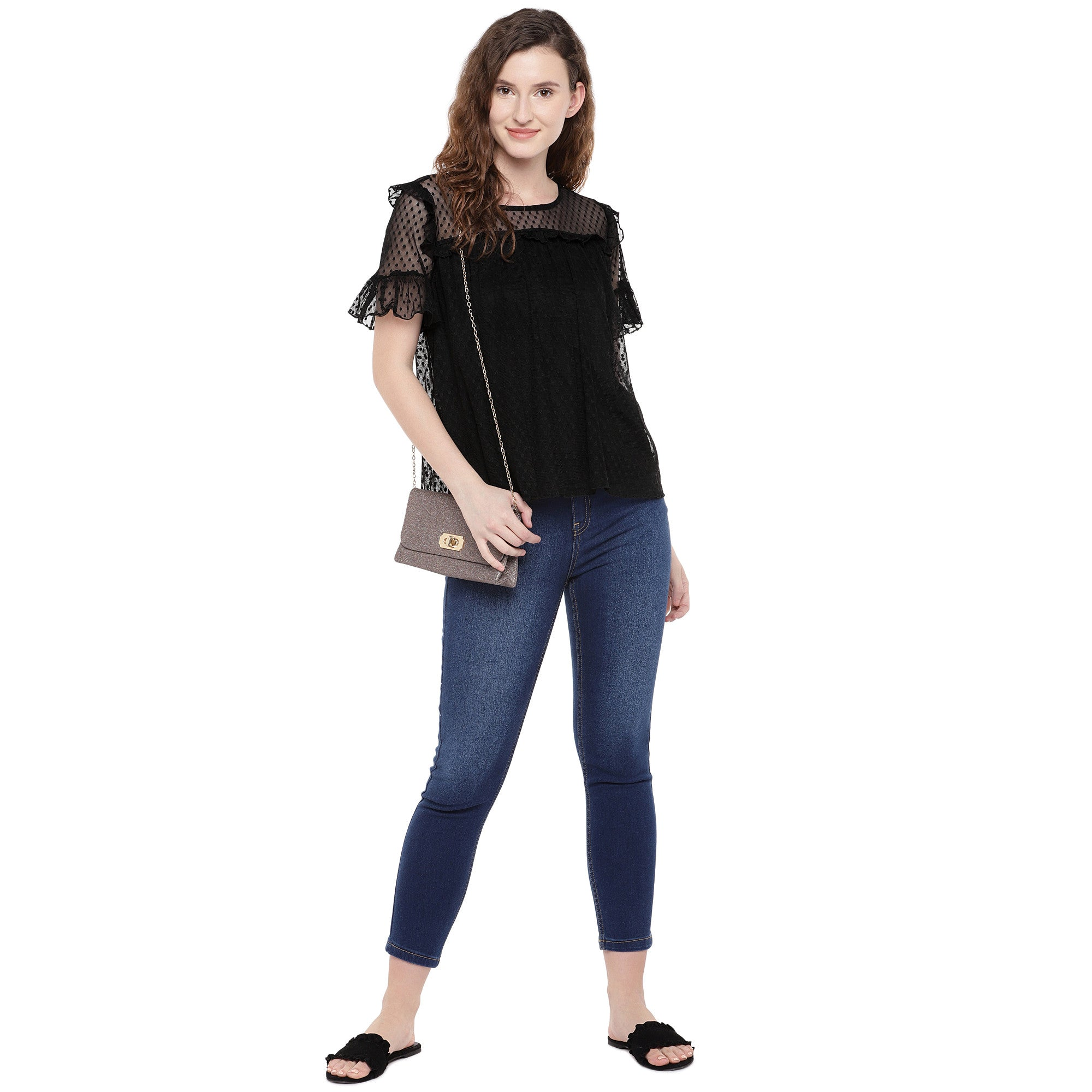 Women Black Self Design Top-4