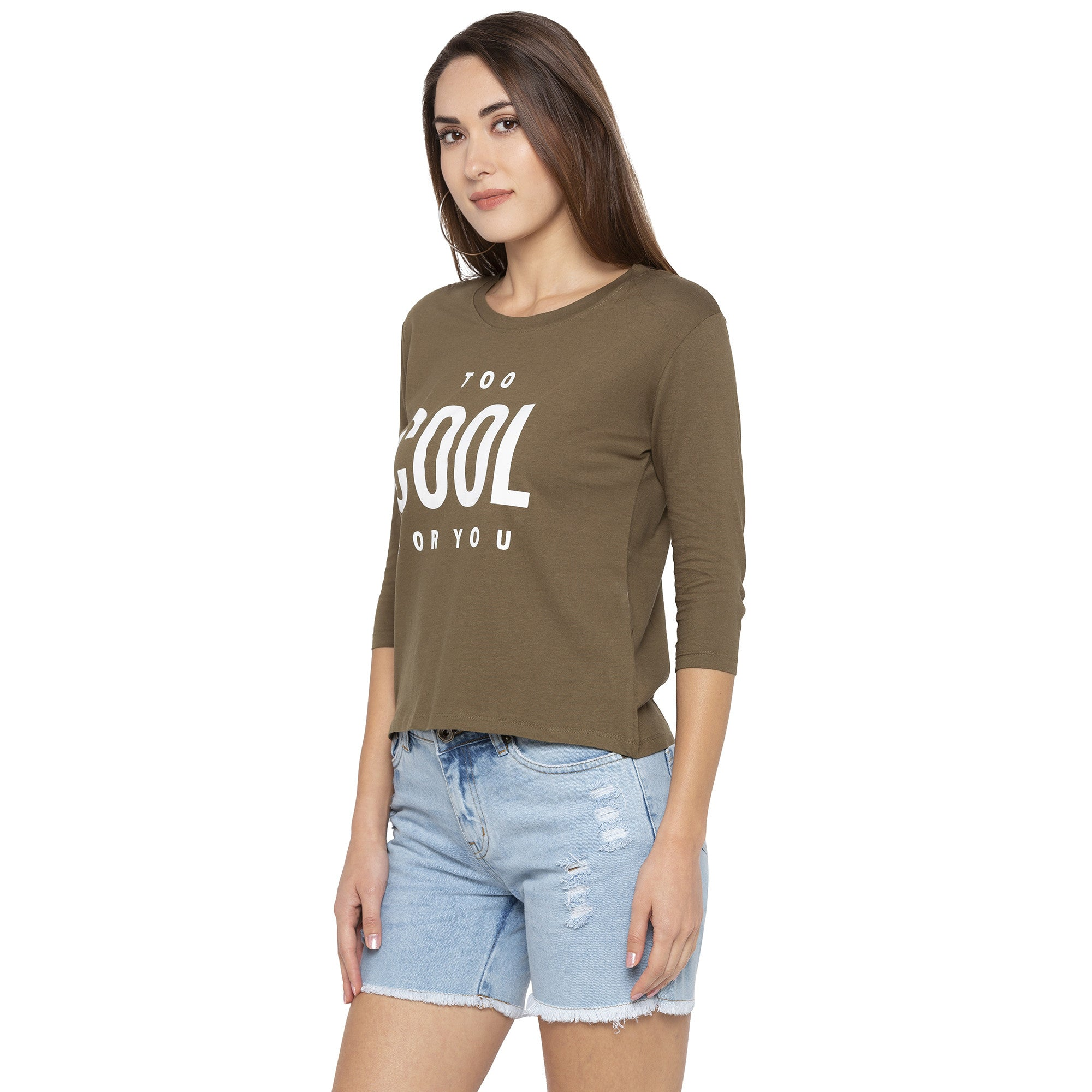 Casual Olive Color Printed Regular Fit Tshirts-2