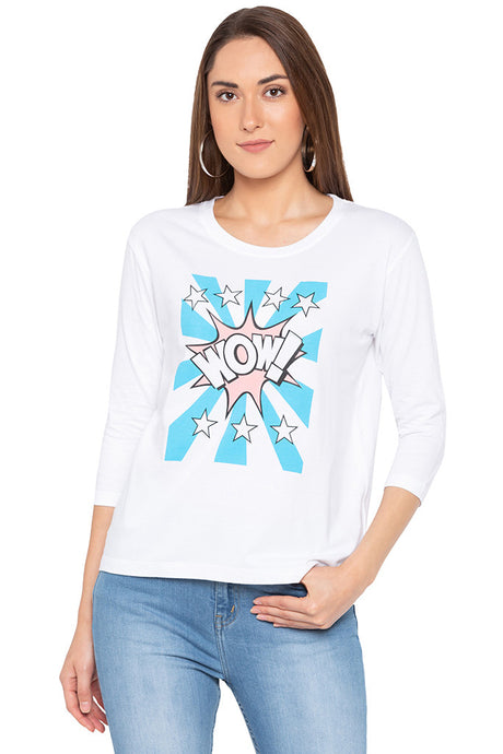 Wow Star Print White T-shirt-1