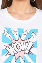 Load image into Gallery viewer, Wow Star Print White T-shirt-5