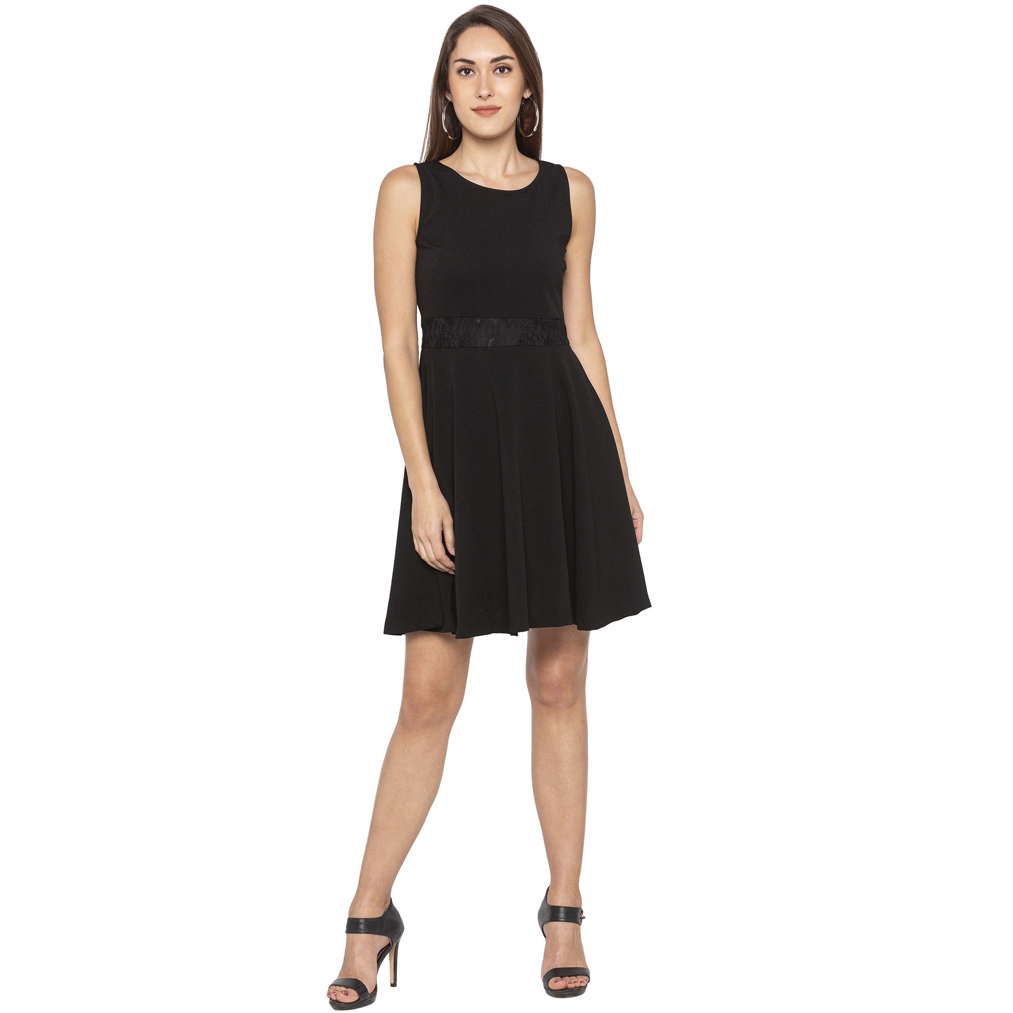 Casual Black Color Solid Fit and Flare Dress-1