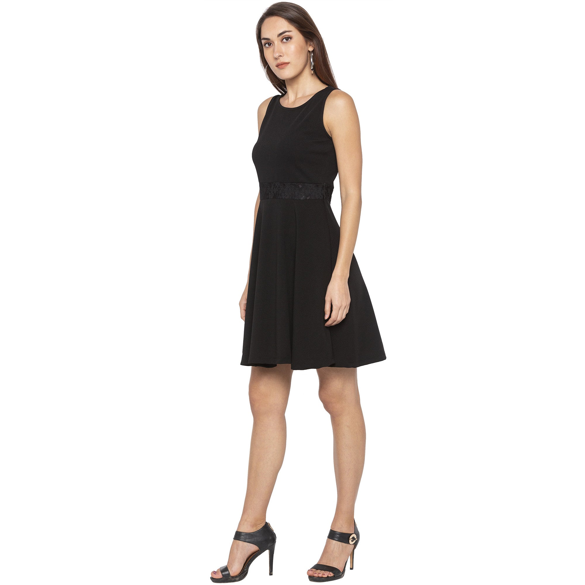 Casual Black Color Solid Fit and Flare Dress-2