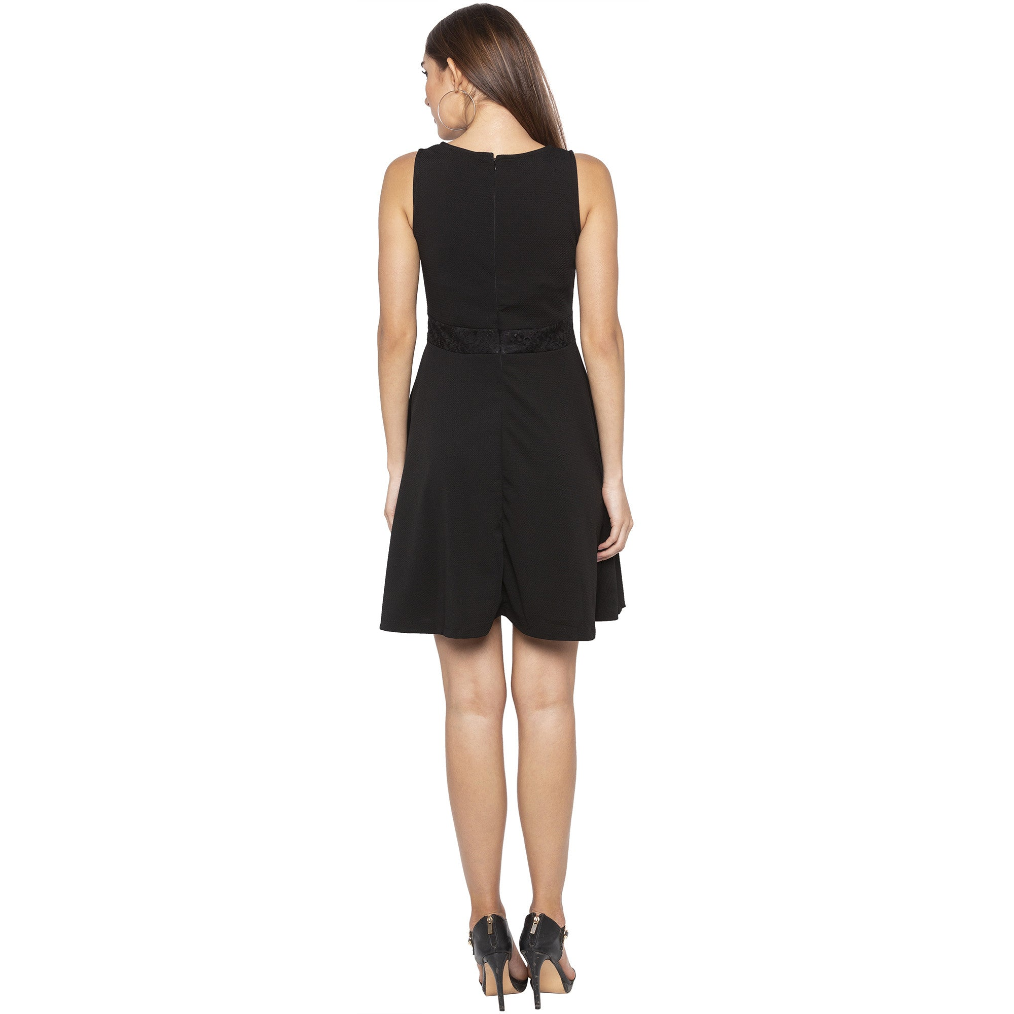 Casual Black Color Solid Fit and Flare Dress-3