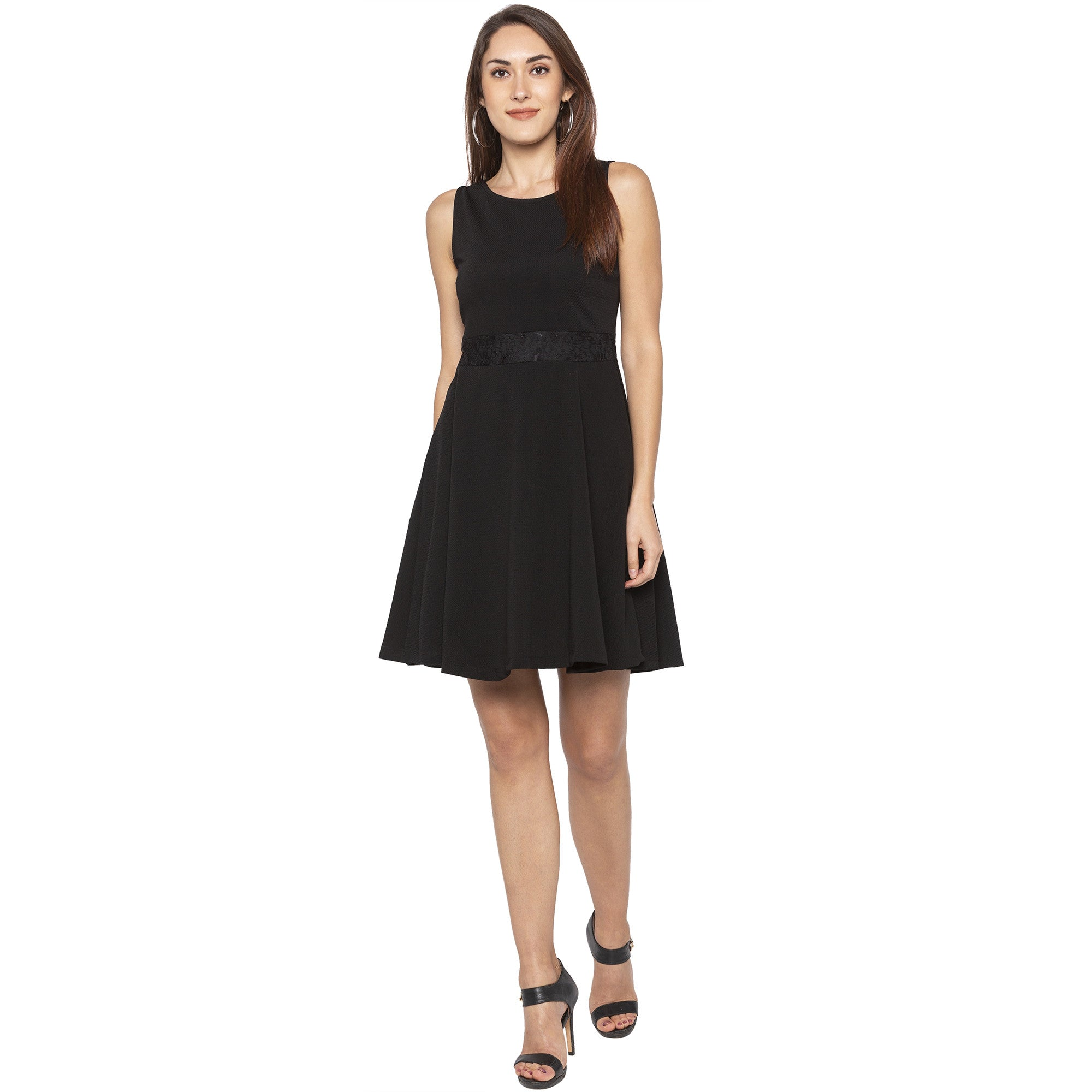 Casual Black Color Solid Fit and Flare Dress-4