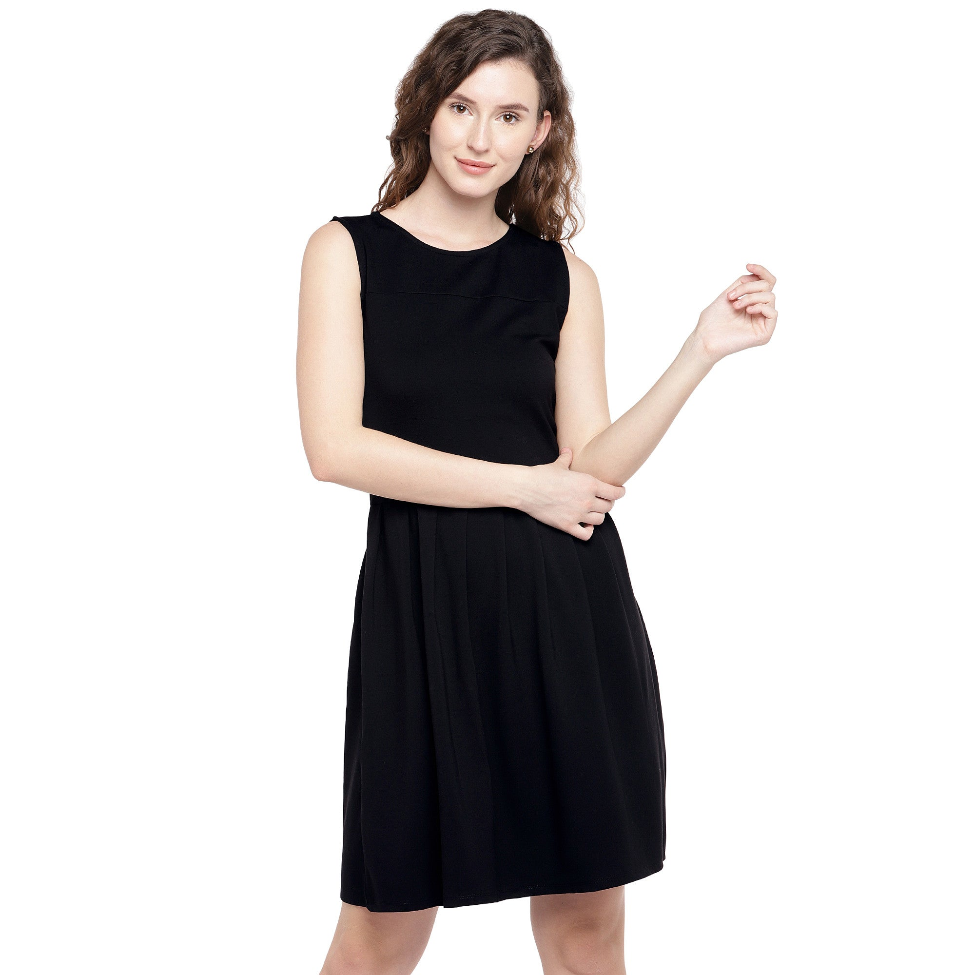 Women Black Solid A-Line Dress-1