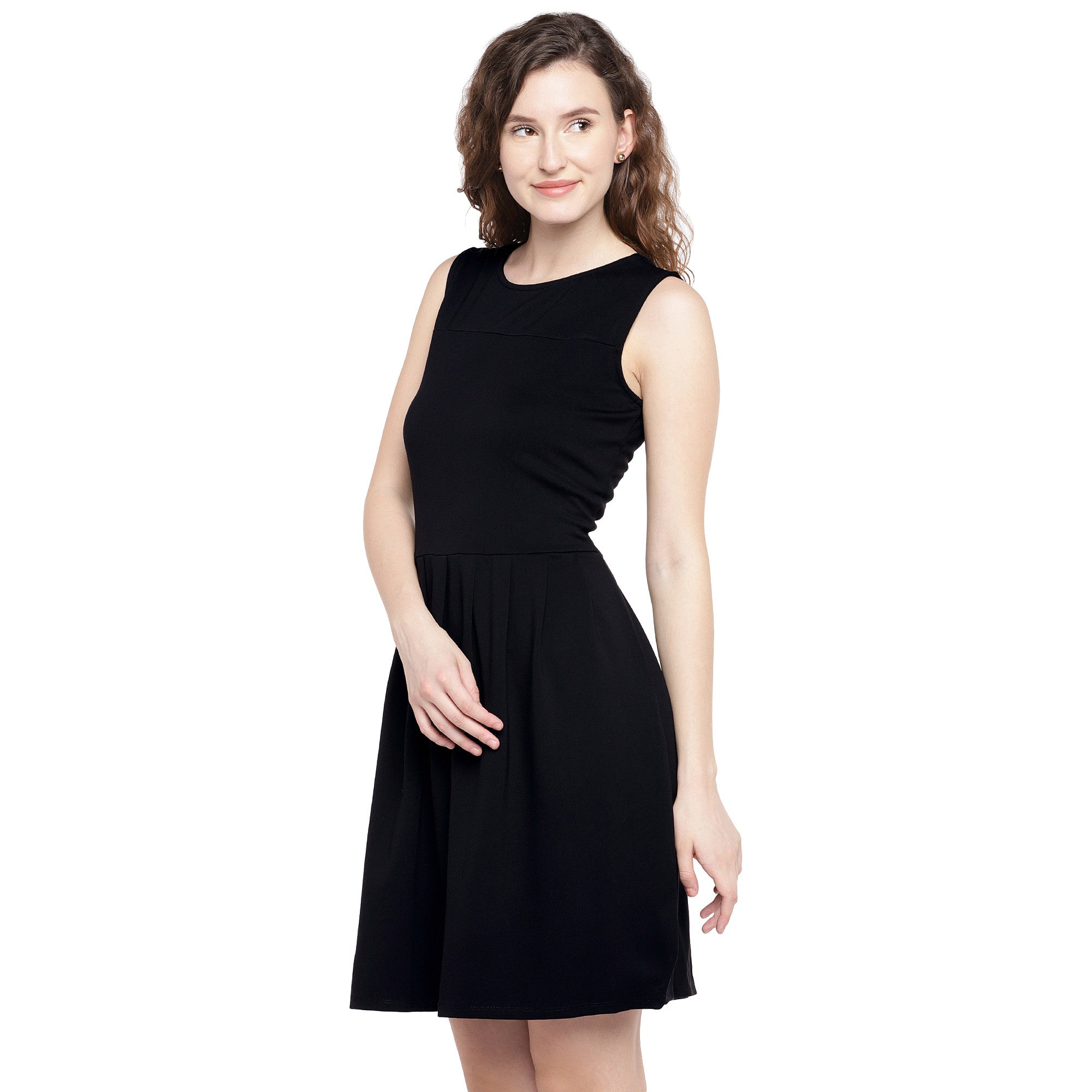 Women Black Solid A-Line Dress-2