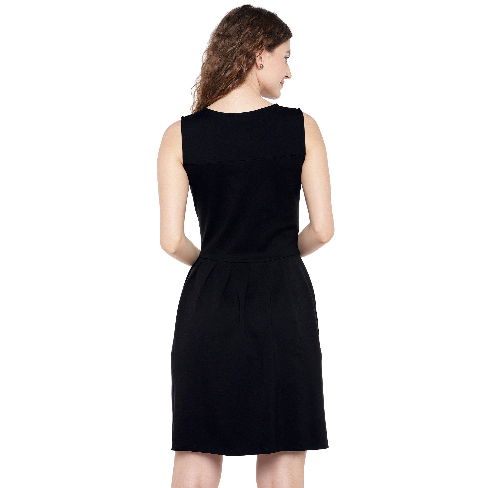Women Black Solid A-Line Dress-3