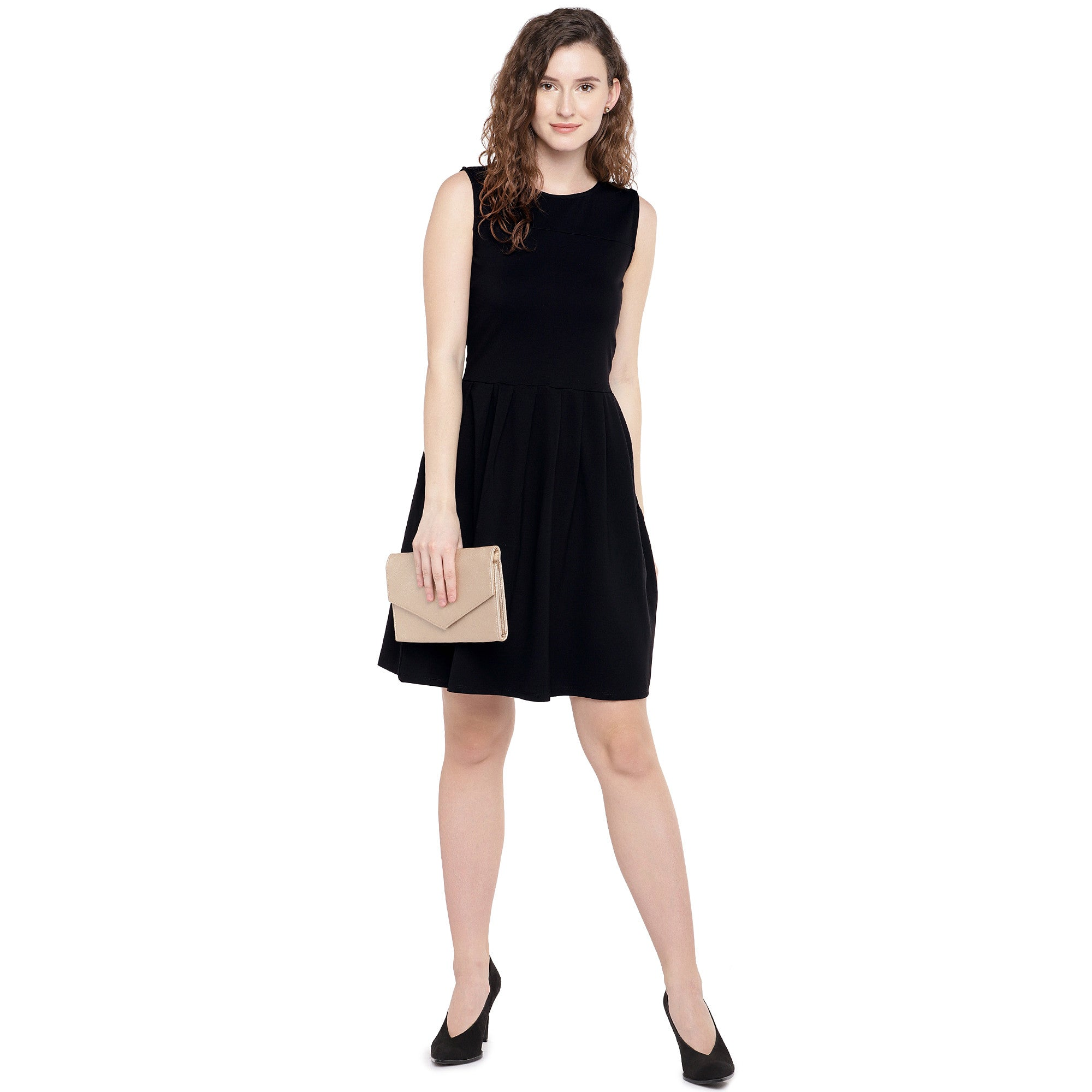 Women Black Solid A-Line Dress-4
