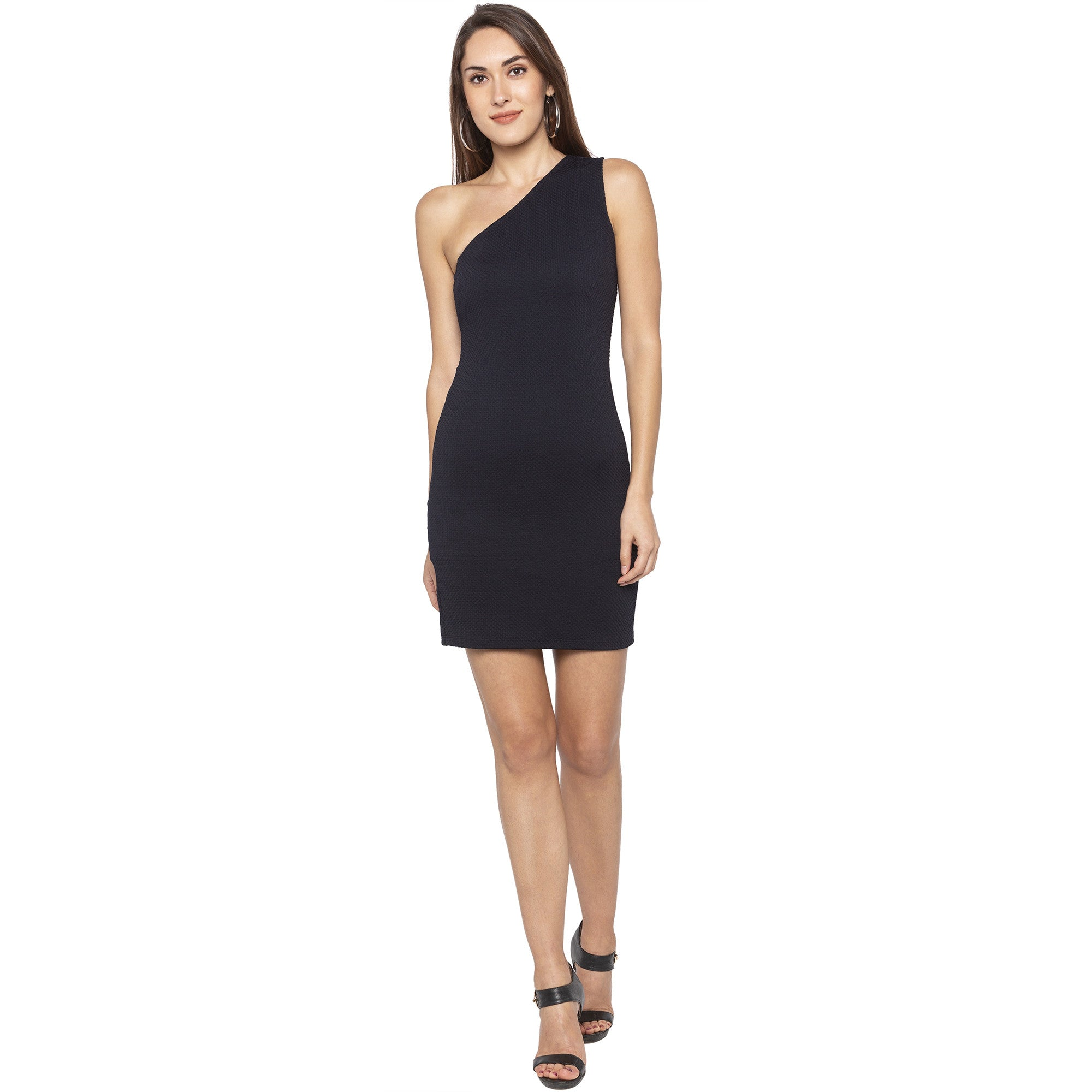 Party Navy Blue Color Solid Bodycon Dress-1