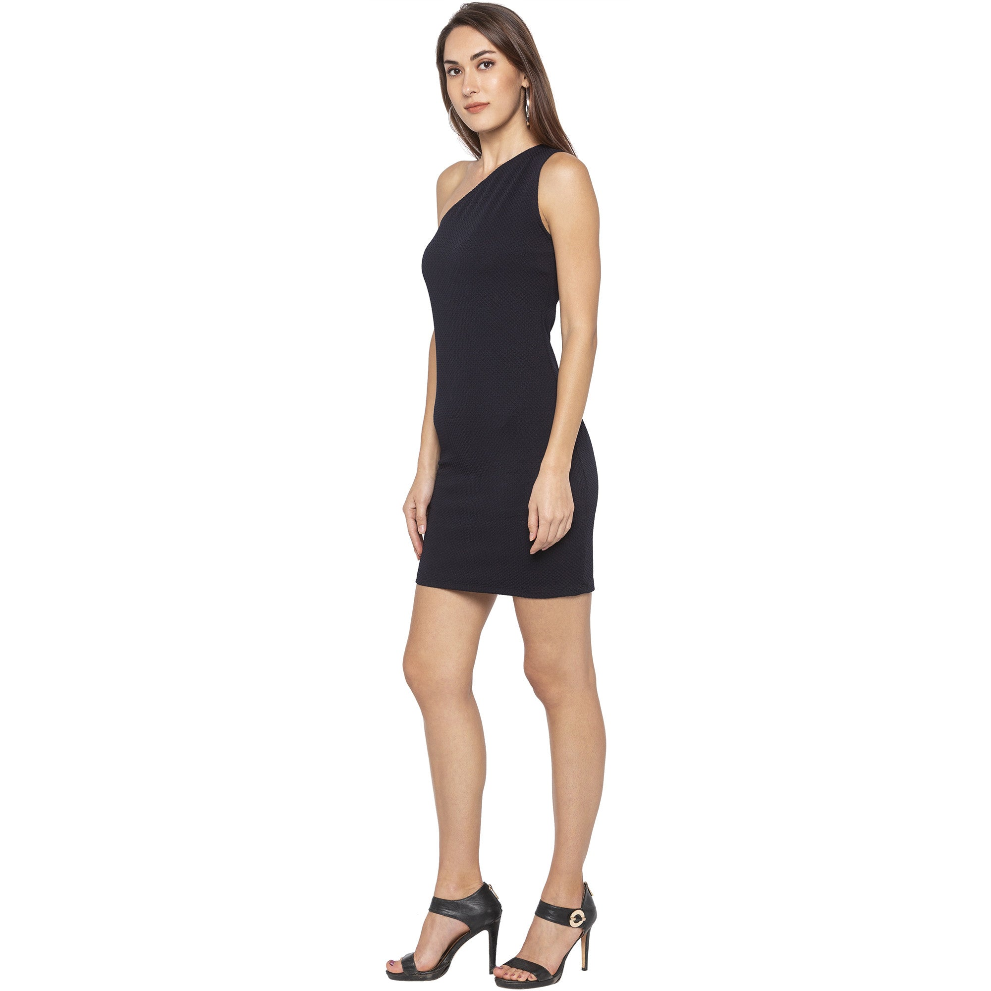 Party Navy Blue Color Solid Bodycon Dress-2