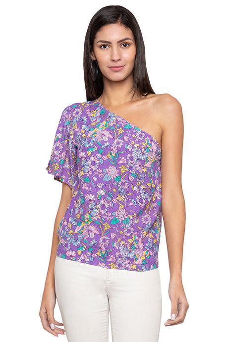 Single Shoulder Floral Blouson Top-1