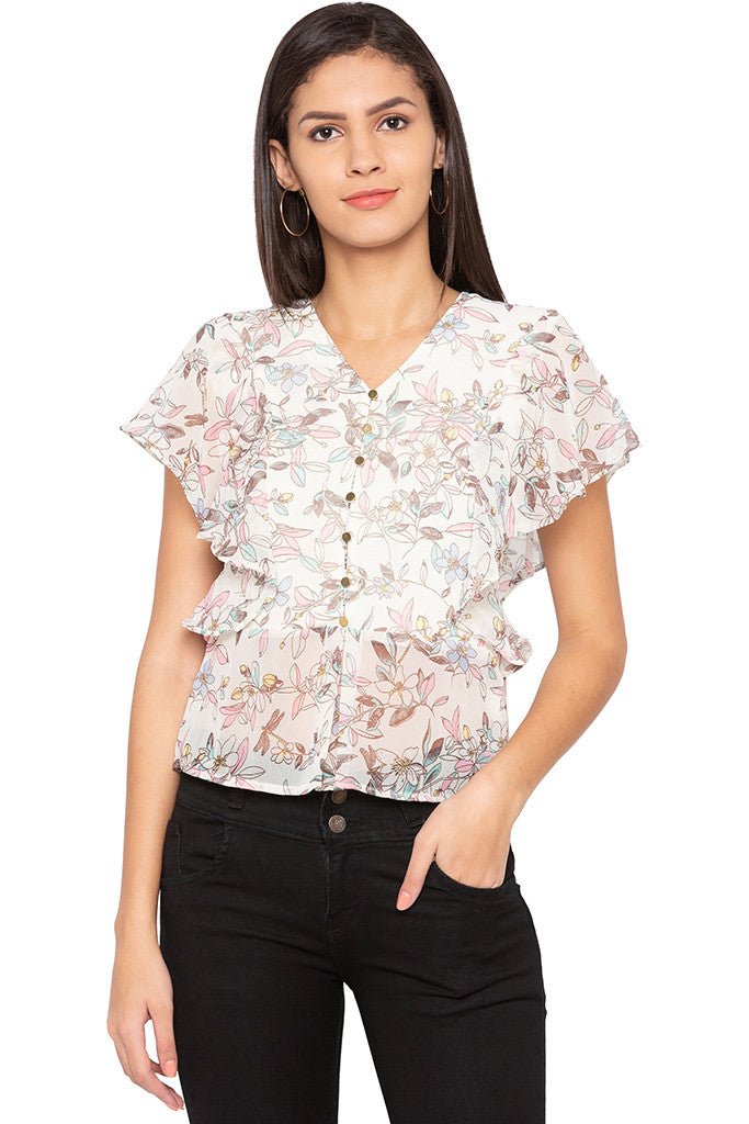 Floral Print Ruffle Top-1