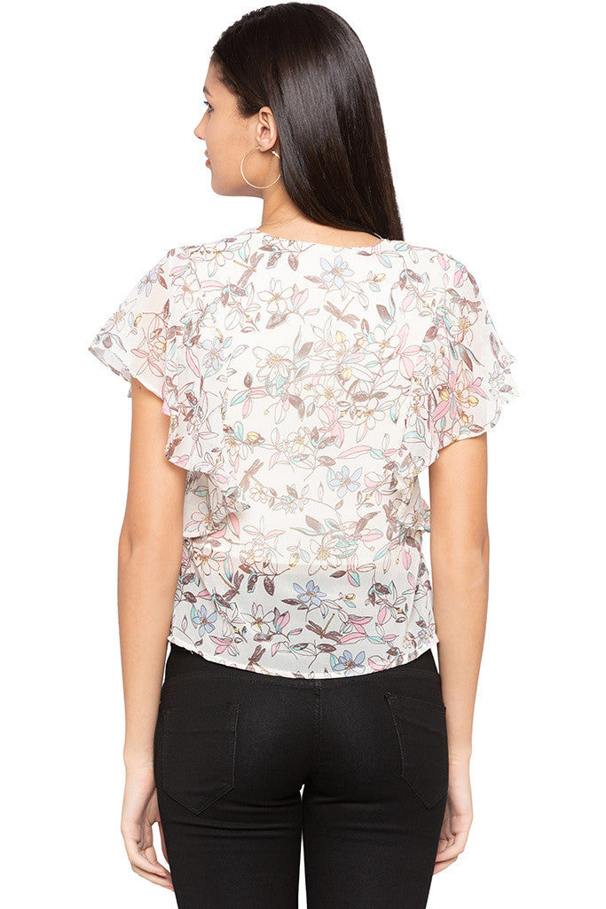 Floral Print Ruffle Top-3
