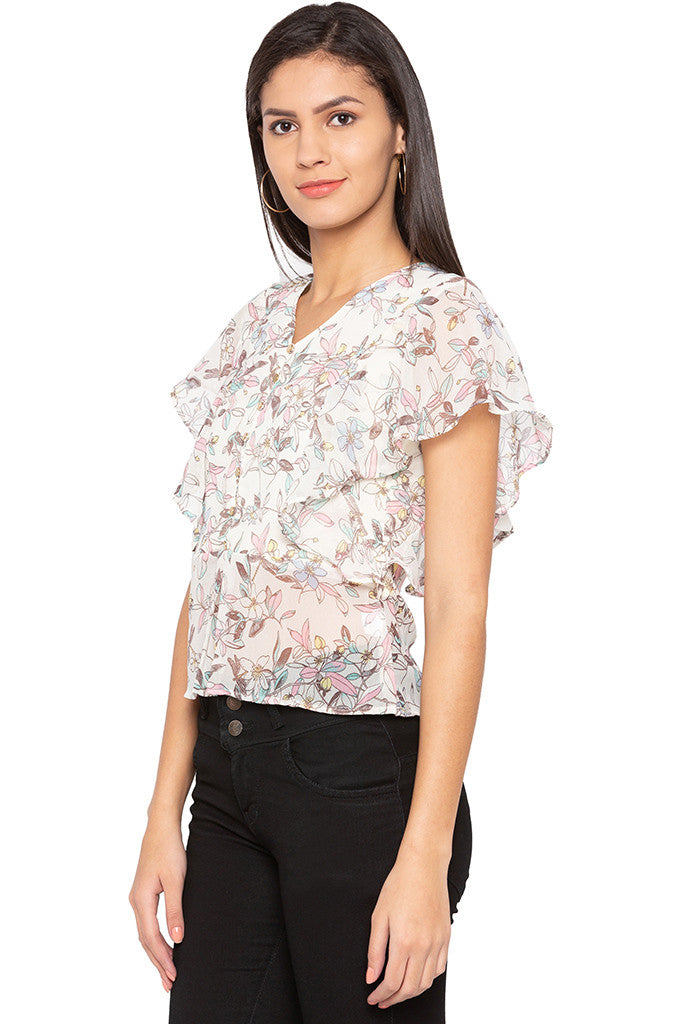 Floral Print Ruffle Top-4