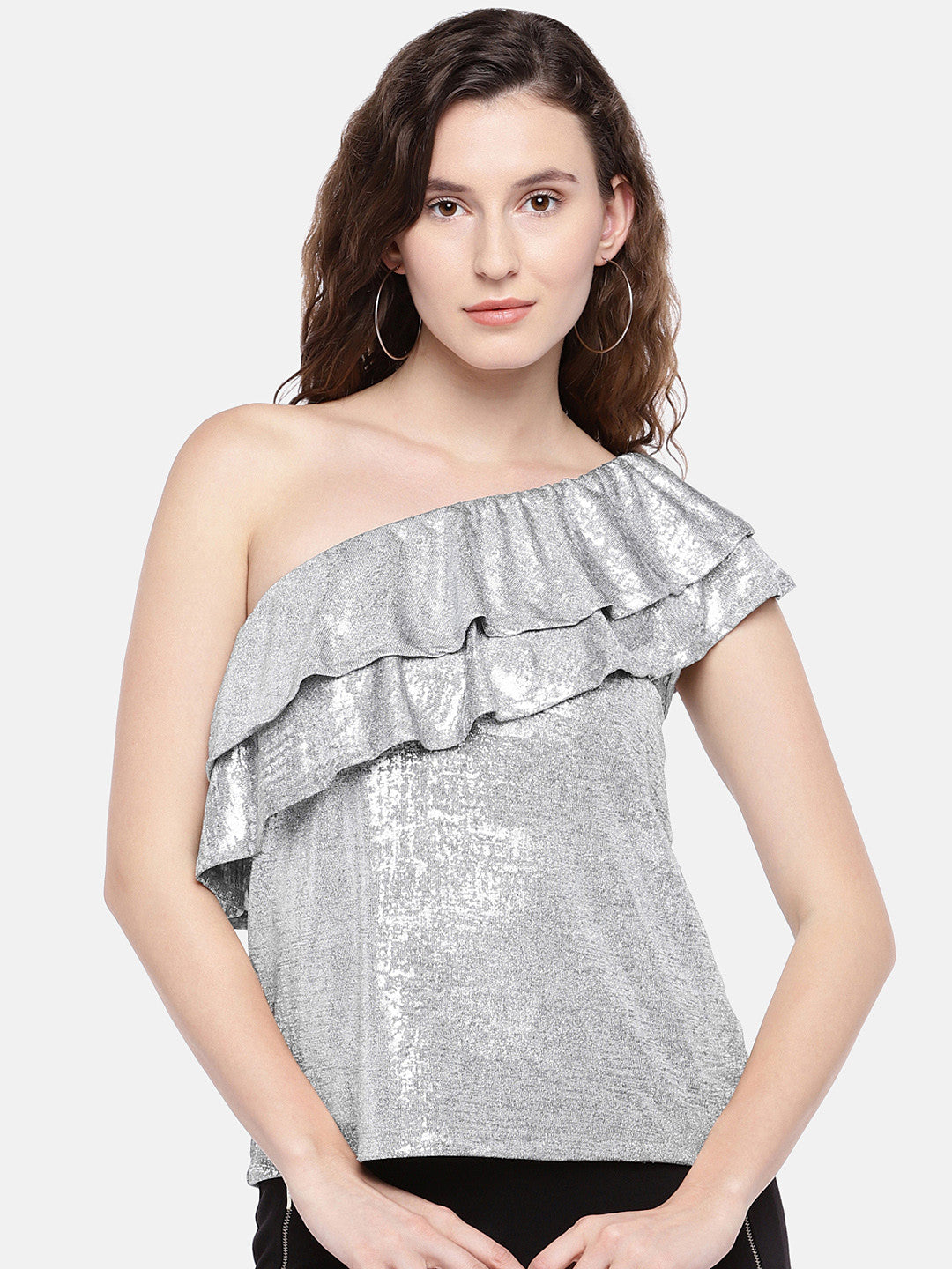 Women Silver-Toned Solid Top-1