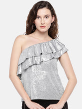 Load image into Gallery viewer, Women Silver-Toned Solid Top-1