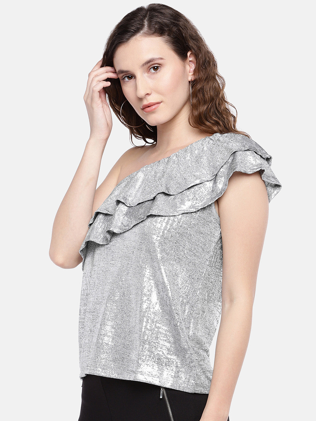 Women Silver-Toned Solid Top-2